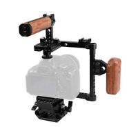 CAMVATE DSLR Camera Cage Wood Right Handle QR Base Rig for Canon Nikon Sony GH5