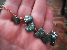 Green Maple Leaves On a Copper Chain Necklace