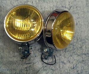 vintage car truck vw mini cooper round chrome glass fog lights bmw bumper mount