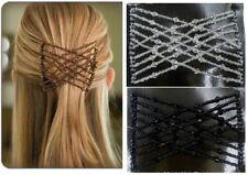 Magic Cheveux Diapositive Facile Double Perles Extensible 1 x Cheveux Peigne clips marron/blanc