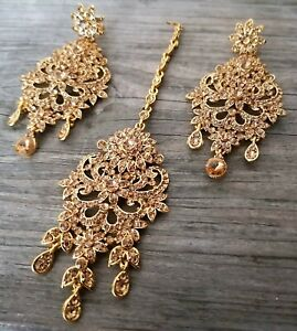 Uk Bollywood Party Wear Big Indian Earring And Tikka Set Antiq Gold Lct/Crystal
