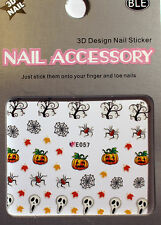 Halloween - Sticker, Nagelsticker,Nailart ,Tattoo,Spinne,Kürbis,Netz,Geist E057