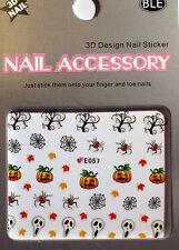 Halloween Sticker,Adesivo unghie,Nail art ,Tatuaggio,Ragno,Zucca,Rete,Spirito