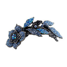 Hair Jewelry Large Crystal Long Stem Rose Barrette, Blue / Free Gift Box