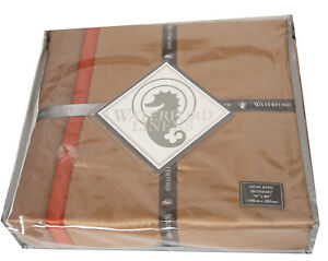 "Waterford Linens Bogden Gold Bedskirt Bed Skirt 15"" Drop Dual King NEW NEW"