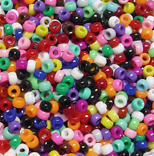 Multi Opaque Mini Barrel Pony Beads made in USA 1,000pc kids crafts school VBS
