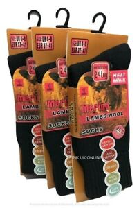 Black 3 Pair Ladies Warm Merino Lamb Wool Thermal Socks Outdoor Thick Heavy Duty