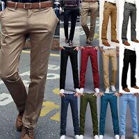 Mens Formal Work Slacks Dress Pants Slim Fit Straight Formal Trousers Business