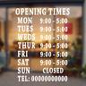 Opening Times Sign, Vinyl Shop Window Sign Sticker Decal, Custom Shop Sticker