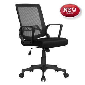 Mid-Back Mesh Adjustable Ergonomic Office Chair, Black