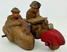 Antique Auburn Military Motorcycle w/ Sidecar & Soldiers Hard Rubber Toy