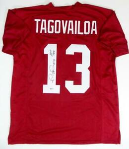 Tua Tagovailoa Signed Red College Style Jersey w/ Roll Tide - Beckett W Auth *1