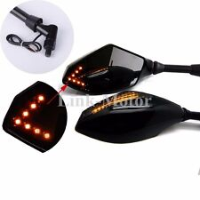 8mm 10mm  Motorcycle LED Turn Signals Rearview Mirrors For Motor Cruiser Scooter