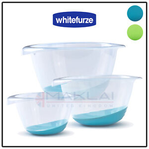 Whitefurze Premium Plastic Mixing Bowl with Silicone Non Slip Base Small Large