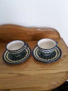 2 Polish Pottery Coffee Cups & Saucers Blue & Green Design
