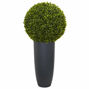 "Boxwood Artificial Topiary Plant In Gray Cylinder Planter 30"" Home Decoration"