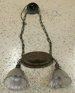 Large Antique Metal Hanging Light Fixture Arrow Co Helophane Art Nouveau Decor