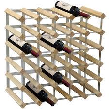 UK New 30 Bottle Traditional Assemble Wine Rack Light Natural Pine Wood Storage