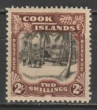 COOK ISLANDS 1938 PICTORIAL 2/- WMK SINGLE STAR NZ