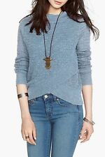 NWT Free People Boho Crossover Sweater Metal Blue Mock Neck Top-Size XL -Flaw-