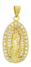 14k GOLD PLATED GUADALUPE CLEAR CZ PENDANT