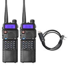 2X Baofeng UV-5R 3800mAh Battery Walkie Talkie Dual Band UHF VHF 128 CH +Cable