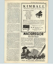1922 Paper Ad Kimball Pianos McGregor Golf Clubs Crawford, McGregor & Canby Co