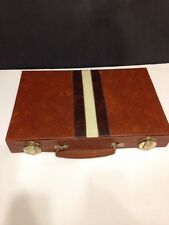 Vintage Deluxe Backgammon Attache Game Set Faux Leather Case Complete Set