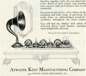 1924 Vintage Original ATWATER KENT RADIO Ad. Exceptional Selectivity. Phila, PA-