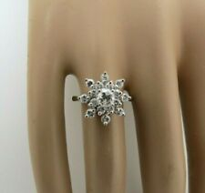14k White Gold Diamond Snowflake Ring Cluster Flower H Color .94 CTTW Size 7 Vtg