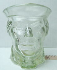 Avon Revolutionary Soldier Head Candle Holder Clear Glass Vintage Collectible