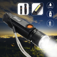 50000LM Rechargeable T6 + COB LED Zoomable Flashlight Zoom Torch USB Light Lamp