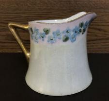 Antique O+EG ROYAL AUSTRIA Porcelian Creamer Pitcher Pearlized Gold Trim Signed
