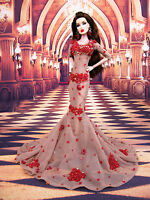 Eaki Red Evening Dress Outfit Gown For Silkstone Barbie Fashion Royalty Monogram