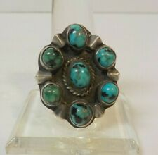 Vintage Sterling Silver SW Turquoise Cluster Ring, Size 9.25