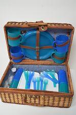 4 Person Vintage Retro Wicker Picnic Basket Hamper Travel Trip Summer Blue