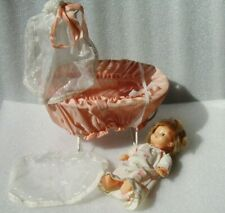 VINTAGE PLASTIC DOLL IN BABY BED-CRADLE, PROBABLY GDR - EAST GERMANY