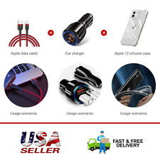 Fast Car Charger+1M Usb Charging Cable+Clear Phone Case Cover Fit iPhone12 Mini