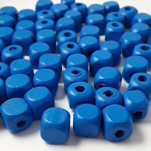 100pcs Egyptian Blue Wooden Cube Beads 10mm - B0101022