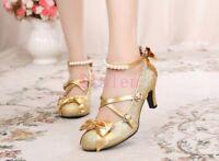 Lolita Girls Women Bowtie Glitter Round Toe Pumps Bead New Buckle Mid Heel Shoes