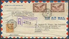 CANADA #C5 PAIR ON HINDENBURG COVER CANADA TO GERMANY HV9055