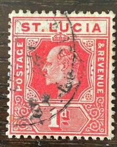St Lucia 1907 KEVII SG67a 1d Carmine 'Broken Frame & Crown' Used Cat £75