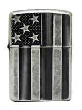Zippo 28974 Armor Deep Cut Flag Antique Silver Plate Windproof Lighter NEW