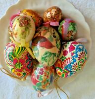 "Paper papier Mache Easter Eggs, Lot of NINE (9)  3"", 2""   With hangers"