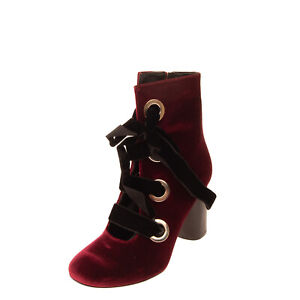 RRP €140 BIANCA DI Velour Booties Size 37 UK 4 US 7 Cylinder Heel Made in Italy
