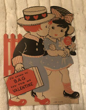 "Vtg 1930's Bag You For My Valentine Boy & Girl Card ~ Large 7.25"" ~ Excellent"