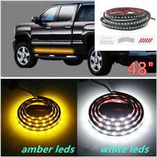 "2X 48"" Running Board Side Step LED Light Amber White Turn Signal DRL Strip Bar"