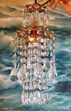 1o2 SWAG Mini Jelly Fish ins vintage Lamp Chandelier brass spelter crystal glass