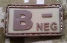 Blood Type B NEG - ARID DCU PVC Tags Tactical Patch velcro 3D Paintball airsoft