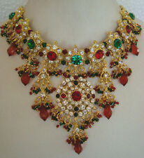 Bollywood fashion gold tone beautiful necklace set with earring and tikka2100RG